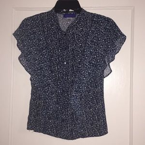 Woman's Simply Styled Ruffle Crop Button Down Top